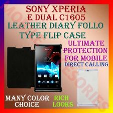 ACM-LEATHER DIARY FOLIO FLIP CASE for SONY XPERIA E DUAL C1605 FRONT/BACK COVER