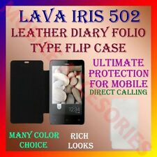 ACM-LEATHER DIARY FOLIO FLIP CASE for LAVA IRIS 502 MOBILE FRONT & BACK COVER