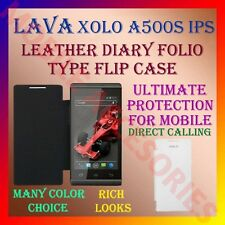 ACM-LEATHER DIARY FOLIO FLIP CASE for XOLO A500S IPS MOBILE FRONT & BACK COVER