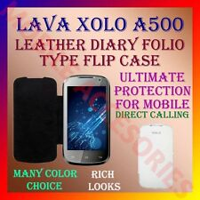 ACM-LEATHER DIARY FOLIO FLIP FLAP CASE for XOLO A500 MOBILE FRONT & BACK COVER