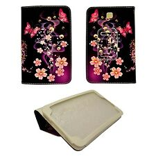 PURPLE PINK FLOWER AND BUTTERFLY SWIRLPU LEATHER COVER SAMSUNG GALAXY TAB3 P3200