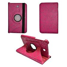 """HOT PINK GLITTER 360 ROTATING PU LEATHER 7"""" INCH COVER SAMSUNG GALAXY TAB3 P3200"""