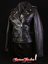 Ladies BRANDO Black Classic Motorcycle Motorbike Cruiser Hide Leather Jacket