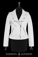 Ladies BRANDO White Classic Motorcycle Motorbike Cruiser Hide Leather Jacket