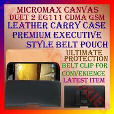 ACM-BELT CASE for MICROMAX CANVAS DUET 2 EG111 CDMA GSM LEATHER CARRY POUCH CLIP