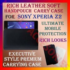 ACM-RICH LEATHER SOFT CARRY CASE for SONY XPERIA Z2 MOBILE HANDPOUCH COVER POUCH