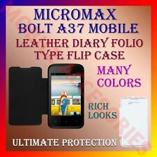 ACM-LEATHER DIARY FOLIO FLIP CASE for MICROMAX BOLT A37 MOBILE FRONT/BACK COVER