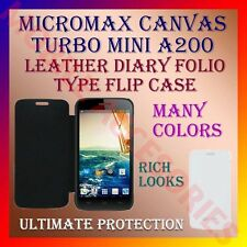 ACM-LEATHER DIARY FOLIO FLIP FLAP CASE for MICROMAX CANVAS TURBO MINI A200 COVER