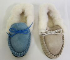 LADIES SUEDE MOCCASIN SLIPPERS BLUE OR BEIGE  WITH FUR SIZES UK 4 - UK 7
