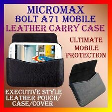 ACM-HORIZONTAL LEATHER CARRY CASE for MICROMAX BOLT A71 MOBILE RICH POUCH COVER