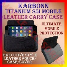 ACM-HORIZONTAL LEATHER CARRY CASE for KARBONN TITANIUM S5i MOBILE POUCH COVER