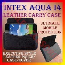 ACM-HORIZONTAL LEATHER CARRY CASE for INTEX AQUA I4 MOBILE POUCH COVER HOLDER