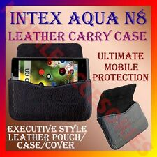 ACM-HORIZONTAL LEATHER CARRY CASE for INTEX AQUA N8 MOBILE POUCH COVER HOLDER