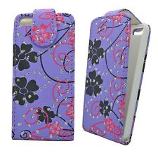 LILAC CASE PINK AND BLACK FLOWER SWIRL GLITTER FLIP CASE FOR APPLE IPHONE 4/4S