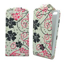 WHITE CASE PINK & BLACK FLOWER SWIRL GLITTER FLIP CASE FOR APPLE IPHONE 4/4S
