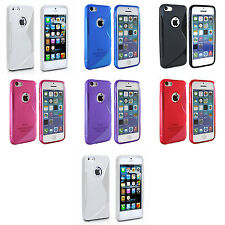 APPLE IPHONE 5/5S S-LINE SILICONE GEL COVER CASE AND SCREEN PROTECTOR