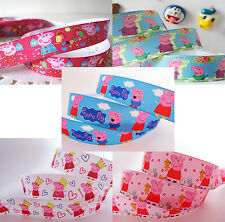 ♕1 Metre 22/25mm Peppa Pig Grosgrain Ribbon-Hair, Dummy Clips, Clothing Crafts♕