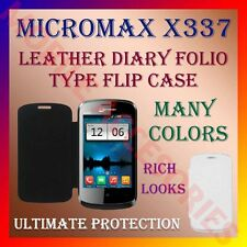 ACM-LEATHER DIARY FOLIO FLIP CASE for MICROMAX X337 MOBILE FRONT & BACK COVER