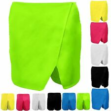 Women's Plain Wet Look Wrap Casual Party Ladies Mini Skirt Culottes Shorts Skort