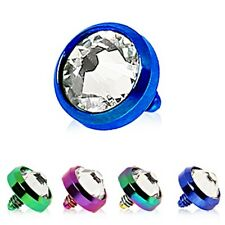 New Anodised Titanium Dermal Anchor Dome Head with Clear Gem 4mm