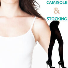 Ladies / Girls / Women White Camisole + Black Pantyhose Stocking Combo Offer