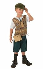 Kids 1940s World War II 40s Evacuee Boys School Book Week Fancy Dress Costume