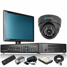 1 x LED IR Camera Full HD 4 CH DVR CCTV Complete System 4TB HDD with Monitor UK