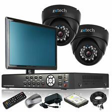 2 x Colour Camera Full D1 4 CH DVR CCTV Package Dual Streamming with Monitor UK
