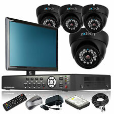 4 x Professional Camera Full HD 4 CH DVR CCTV Kit iPhone Viewing with Monitor 3G