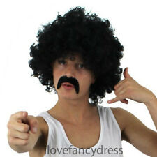 CURLY BLACK AFRO WIG AND MOUSTACHE 1970S DISCO STYLE ADULT 118 COSTUME ACCESSORY