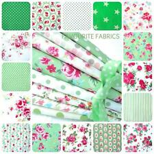 MIX AND MATCH 100% COTTON FLORAL FABRIC MATERIAL by the metre green