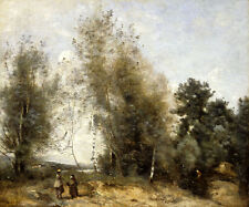 JEAN BAPTISTE CAMILLE COROT Group Of Trees at the Edge of a Pond peasants NEW!