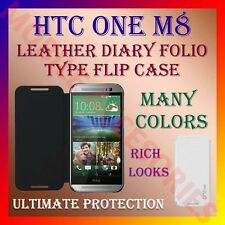 ACM-LEATHER DIARY FOLIO FLIP CASE for NEW HTC ONE M8 MOBILE FRONT & BACK COVER