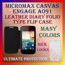 ACM-LEATHER DIARY FOLIO FLIP CASE for MICROMAX CANVAS ENGAGE A091 MOBILE COVER