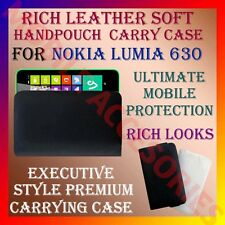 ACM-RICH LEATHER SOFT CARRY CASE for NOKIA LUMIA 630 MOBILE HAND POUCH COVER