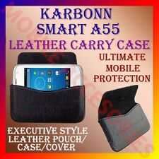 ACM-HORIZONTAL LEATHER CARRY CASE for KARBONN SMART A55 MOBILE RICH POUCH COVER