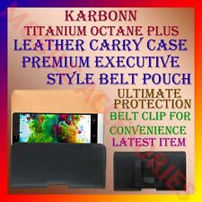 ACM-BELT CASE for KARBONN TITANIUM OCTANE PLUS MOBILE LEATHER CARRY POUCH COVER