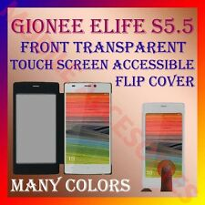 ACM-FRONT TRANSPARENT TOUCH FLIP LEATHER CASE for GIONEE ELIFE S5.5 COVER LATEST