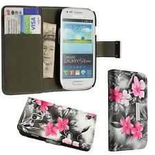 GREY AND PINK FLOWER BOOK FLIP PU LEATHER CASE FOR SAMSUNG GALAXY S3 MINI I8190