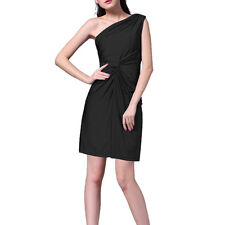 Ruched Stretch Jersey One shoulder Short Formal Cocktail Party Dress Black
