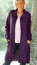LM°486 LANGE STRICKJACKE IN LILA GR. 46 48 50 52 54 56 NEU