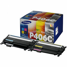 GENUINE SAMSUNG CLT-P406C K/C/M/Y 4 ORIGINAL TONER CARTRIDGE RAINBOW MULTI PACK