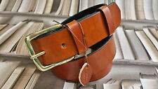 HANDMADE SOLID MENS GENUINE LEATHER TROUSERS BELT 38mm WIDE ALL SIZES made in UK
