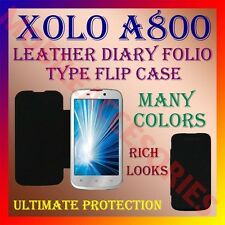 ACM-LEATHER DIARY FOLIO FLIP FLAP CASE for XOLO A800 FRONT & BACK PREMIUM COVER