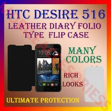 ACM-LEATHER DIARY FOLIO FLIP CASE for HTC DESIRE 516 MOBILE FRONT & BACK COVER