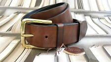 HANDMADE SOLID MENS GENUINE LEATHER TROUSERS BELT 38mm dark brown made in UK