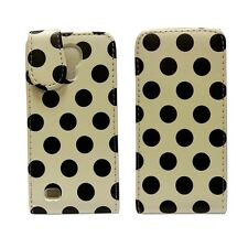 POLKA DOT STYLE LEATHER FLIP POUCH CASE WHITE AND BLACK SAMSUNG GALAXY S4 MINI