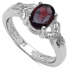 STERLING SILVER GARNET & DIAMOND ENGAGEMENT RING SIZE IPR