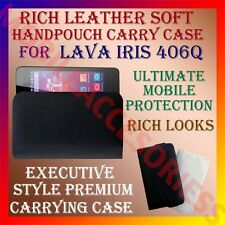 ACM-RICH LEATHER SOFT CARRY CASE for LAVA IRIS 406Q MOBILE HANDPOUCH COVER POUCH