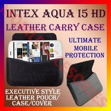 ACM-HORIZONTAL LEATHER CARRY CASE for INTEX AQUA I5 HD MOBILE POUCH COVER HOLDER